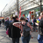 Der Demonstrationszug in Richtun